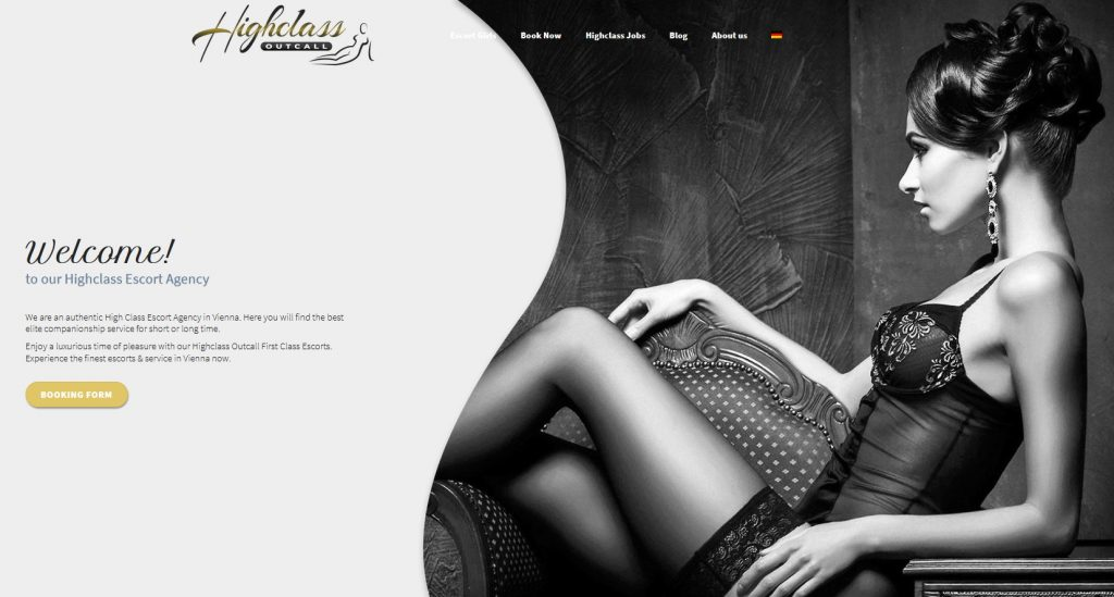 the main page of Vienna Escort agency Highclass Outcall